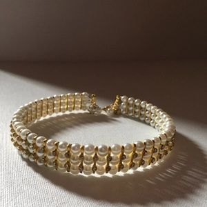 Gold and Pearl Necklace/Choker